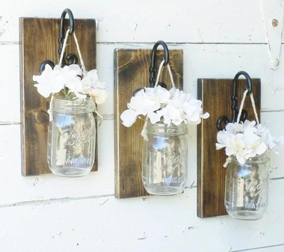 rustic mason jar wall decor Rustic Farmhouse Mason Jar Wall DecorSet by
