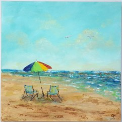 Canvas Beach Chair With Swivel Table Abstract Painting Chairs And Umbrella Large