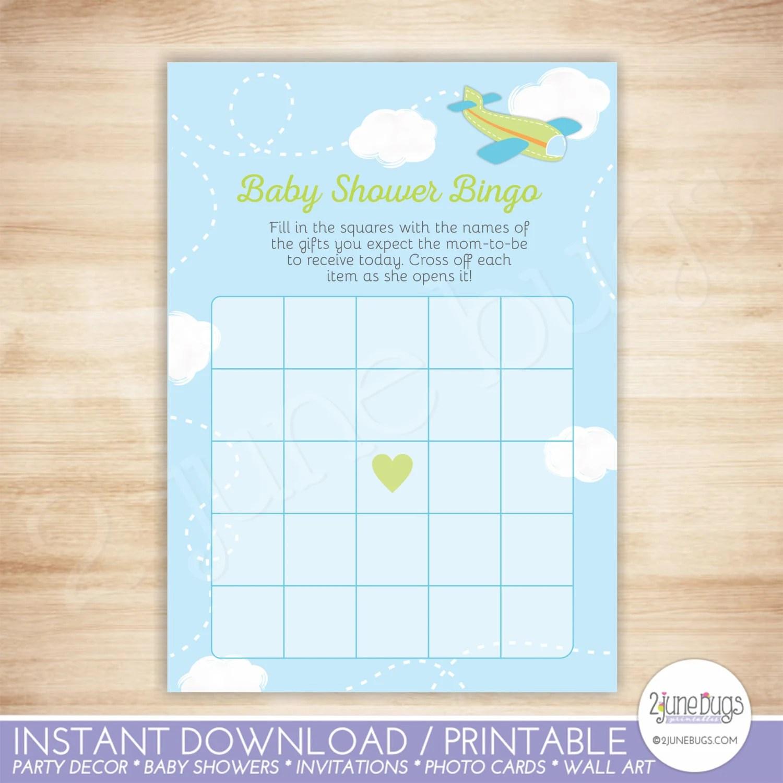 Airplane Baby Shower Bingo Cards Green Airplane Boy Baby