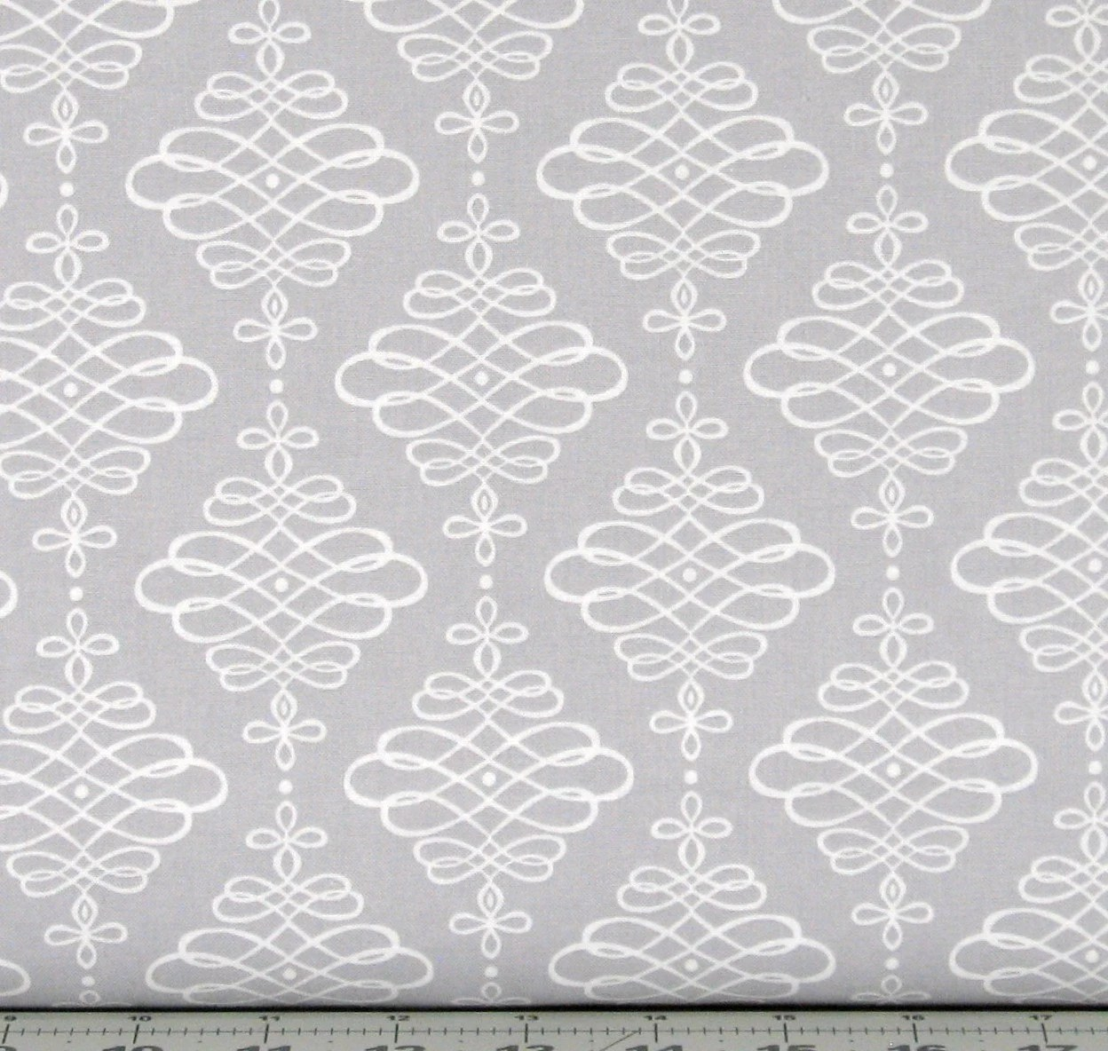 Gray and White Flourish Motif Cotton Quilt Fabric for by