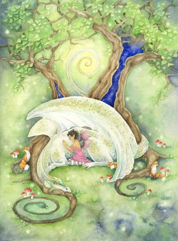 Dragon Art Watercolor Print Rest Fantasy. Fairy. Tree