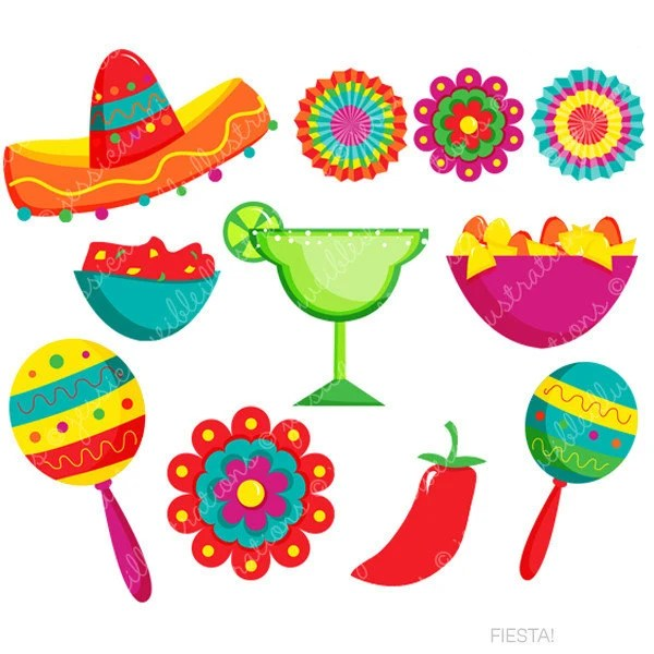 fiesta cute digital clipart spanish