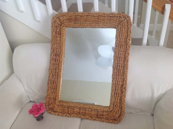 Braided Rattan Mirror Bohemian Bamboo Wicker
