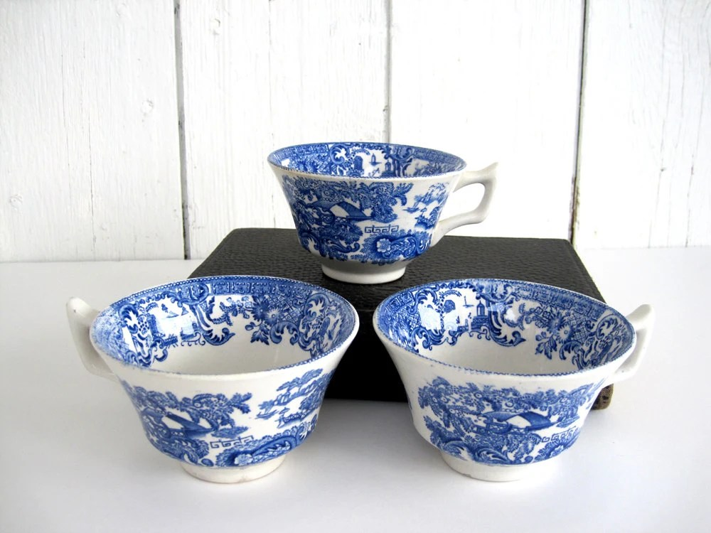 Vintage Blue and White China Tea Cup Set Blue Transferware