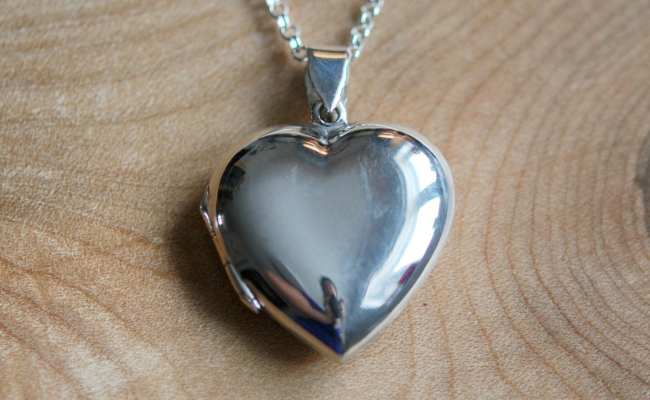 Silver Heart Locket Necklace Sterling Silver Engraved Heart