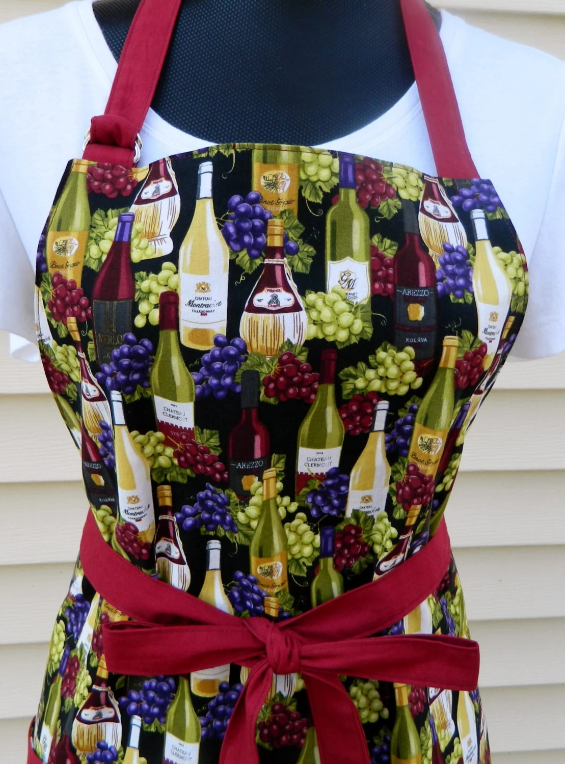 grapes and wine kitchen decor model kitchens reversible apron womens gift ladies lovers