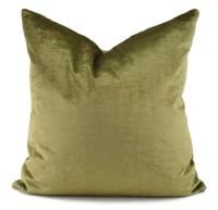 Throw Pillow Cover Olive Green Velvet Pillow Cover 20x20