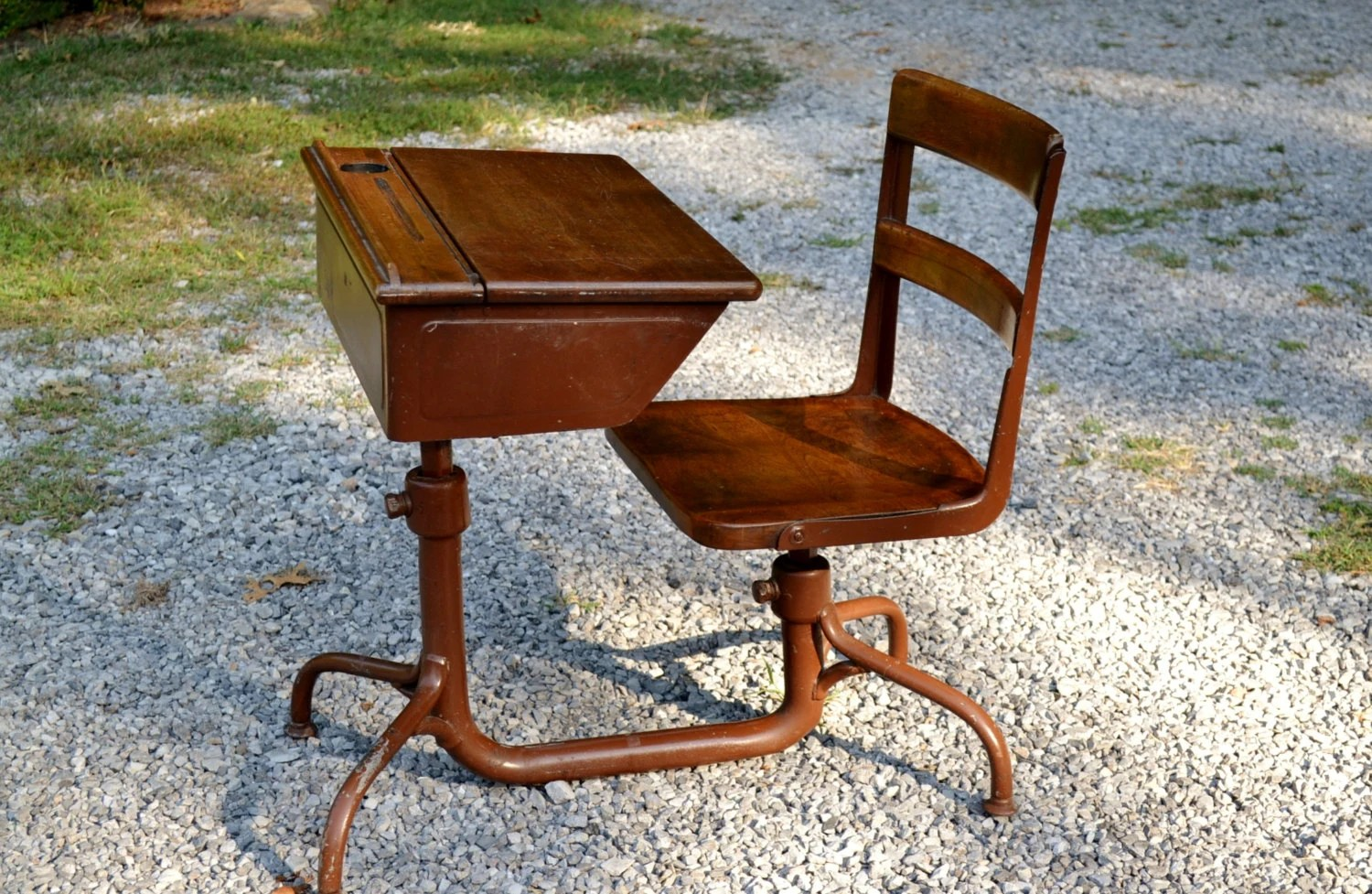 chair connected to desk costco gaming vintage school with attached wood and metal
