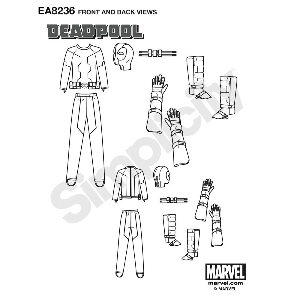 Simplicity Sewing Pattern 8236 Men's Deadpool Costume from
