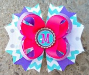 monogram hair bow personalized