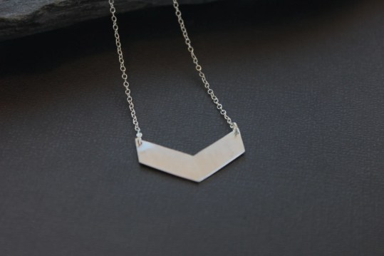 "Silver Chevron Necklace. ""Chevron Necklace - Large"""