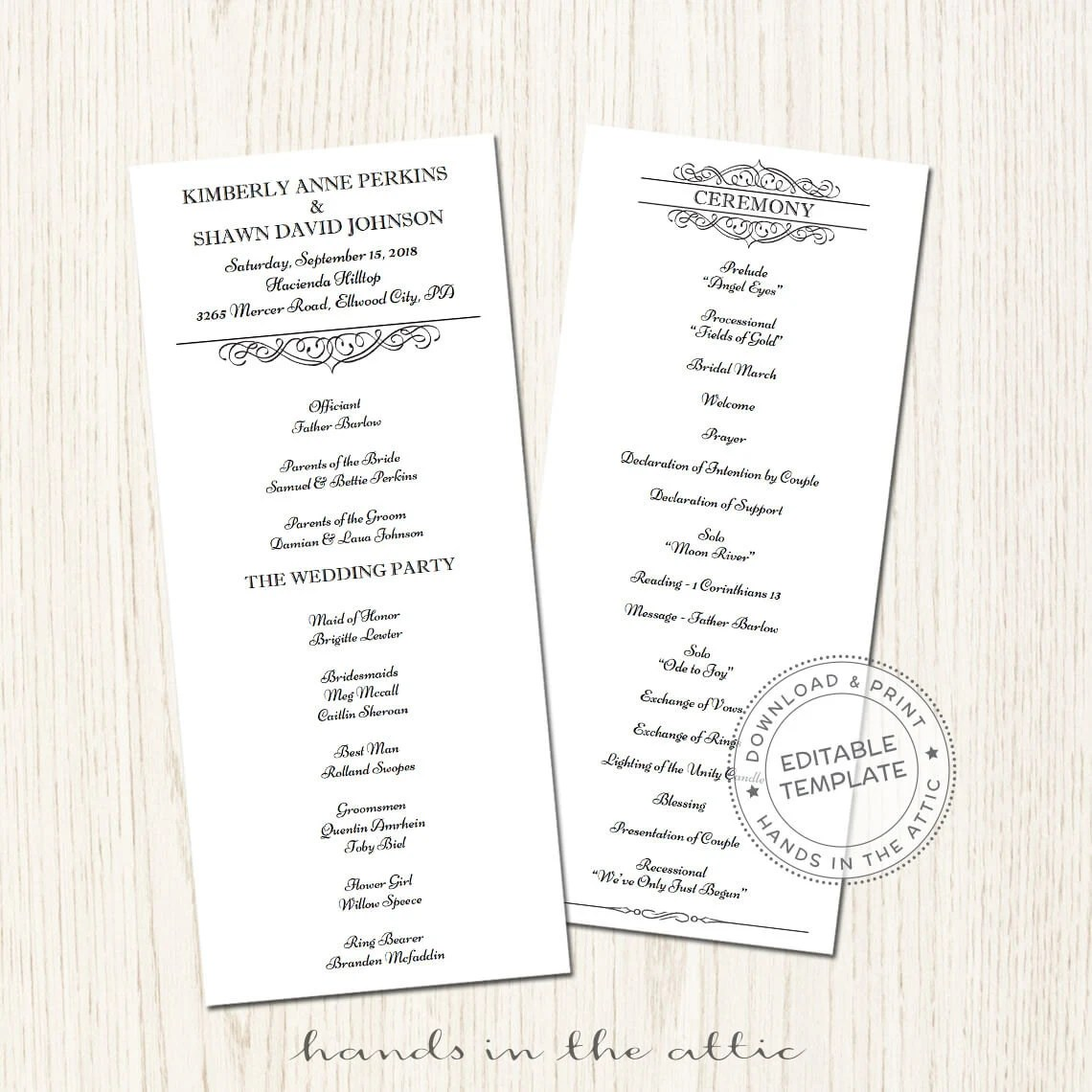 Day of schedule, printable wedding program template
