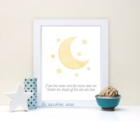 Yellow moon nursery decor Baby room art Moon by LaSardinaRosa