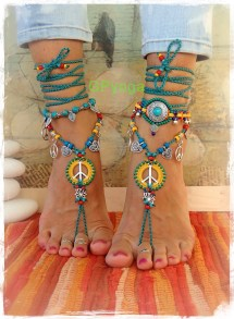 Sunny Lotus Peace Sign Barefoot Sandals Symbol Love Mojo