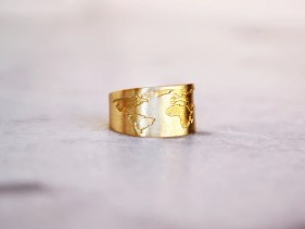 Wanderlust map ring great gift for a guy