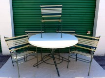 Vintage Outdoor Dining Set 5 Striped Vinyl Strap Chairs