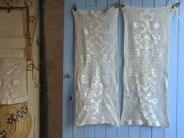 Pair Of Cream Crochet Lace Cafe Curtains Window