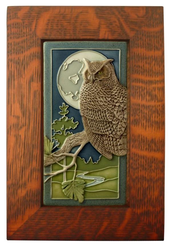 Framed Ceramic Tile Night Owl Art Wall Decor