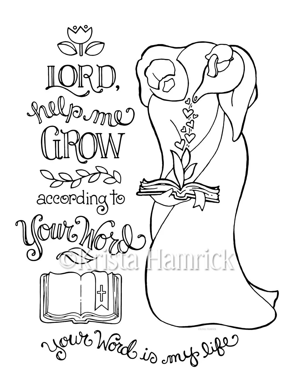 Help Me Grow According to Your Word coloring page 8.5X11