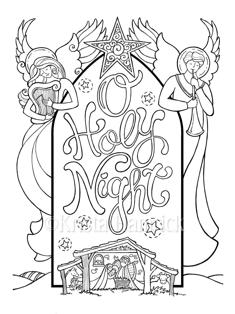O Holy Night Nativity scene coloring page in two sizes: