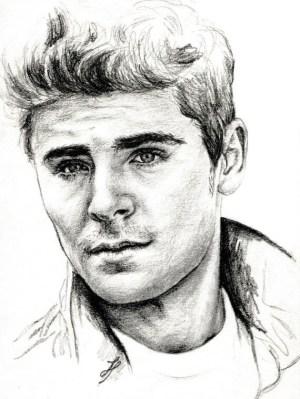 zac efron drawing portrait pencil