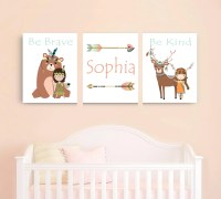 Tribal Girl Nursery Decor Wall Art Woodland Animals and Girls