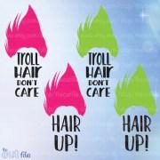troll svg hair don't care