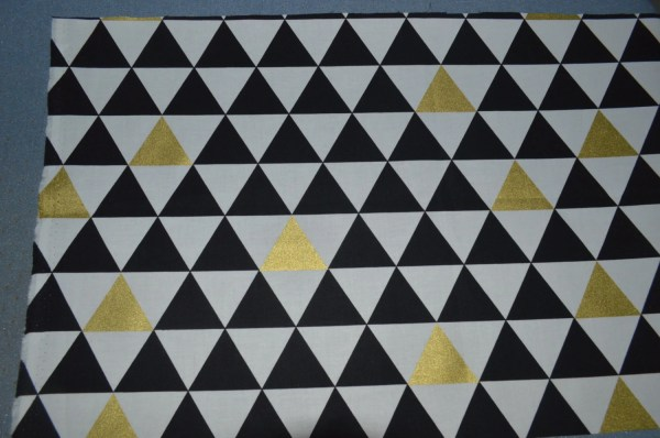 Black White Gold Triangle Fabric Metallic Cotton