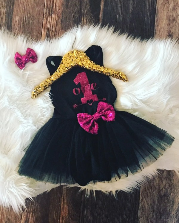 Girls Birthday Black Tutu Dress