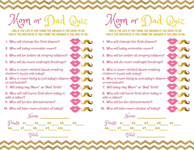 Baby Shower Game Mom Dad Quiz Pink Gold
