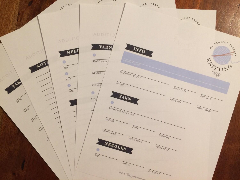 Knitting Project Tracker Printable Worksheet