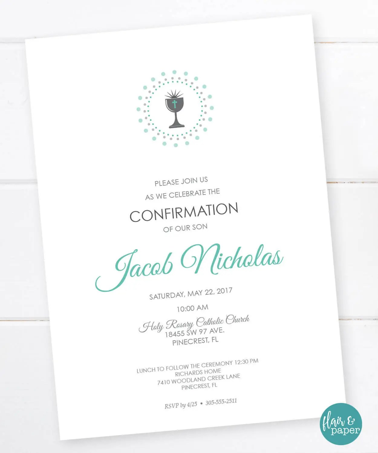 Confirmation Invitation Holy First Communion First Eucharist
