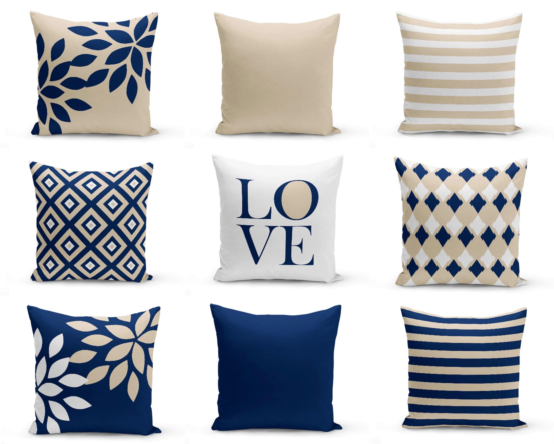 NAVY Throw Pillows Pillow Covers Cushion Cover Home Decor