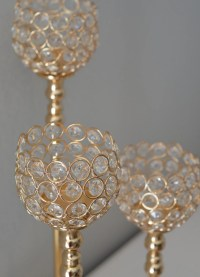 Gold Bling Candle Holder. Gold Rhinestone Flower Ball Stand OR