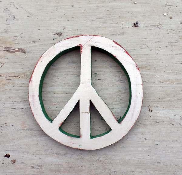 Peace Symbol Reclaimed Wood Decor Sign