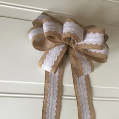 Burlap Bows For Wedding Chairs Bottom Of Chair Protectors Pew Bow Lace Decoration Christmas