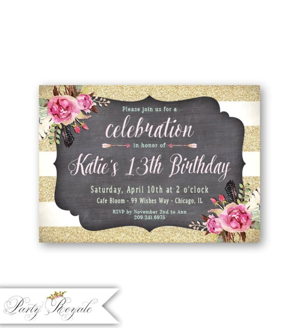 13th Birthday Party Invitations Printable