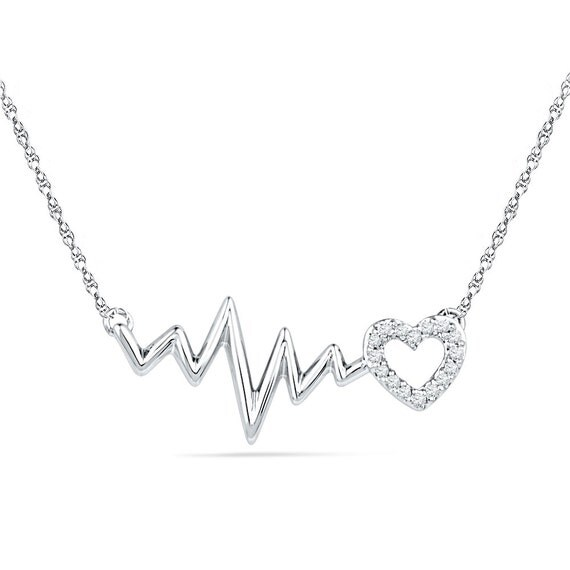 Heartbeat Necklace In Sterling Silver or White Gold 0.05 CT.