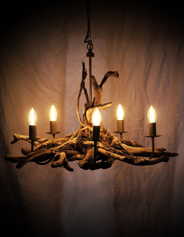 Driftwood chandelier Driftwood Branch light Fitting Five