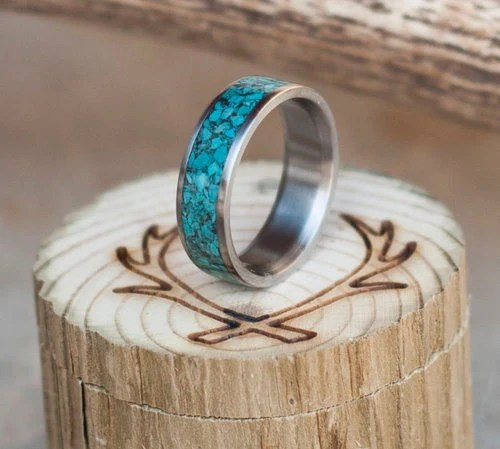 Mens Wedding Band Turquoise Ring Staghead Designs