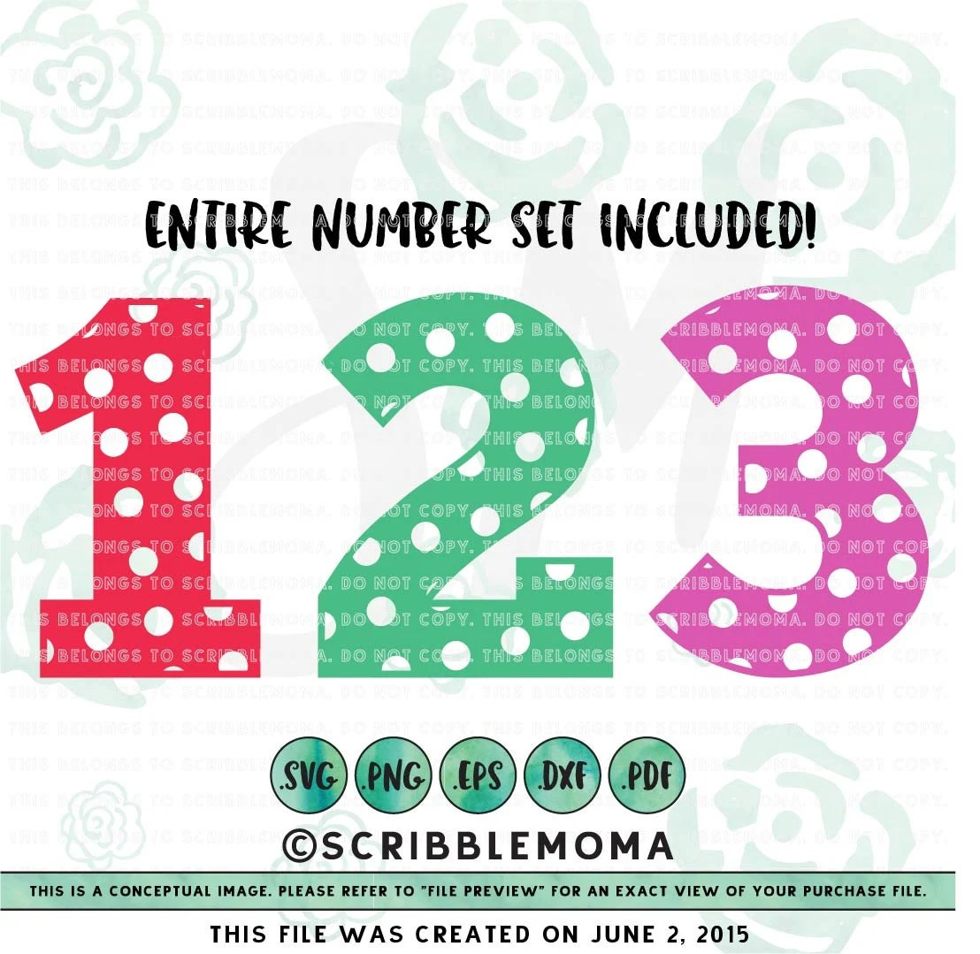 Download Polka Dot Numbers svg Number svg for Cricut Polka by ...