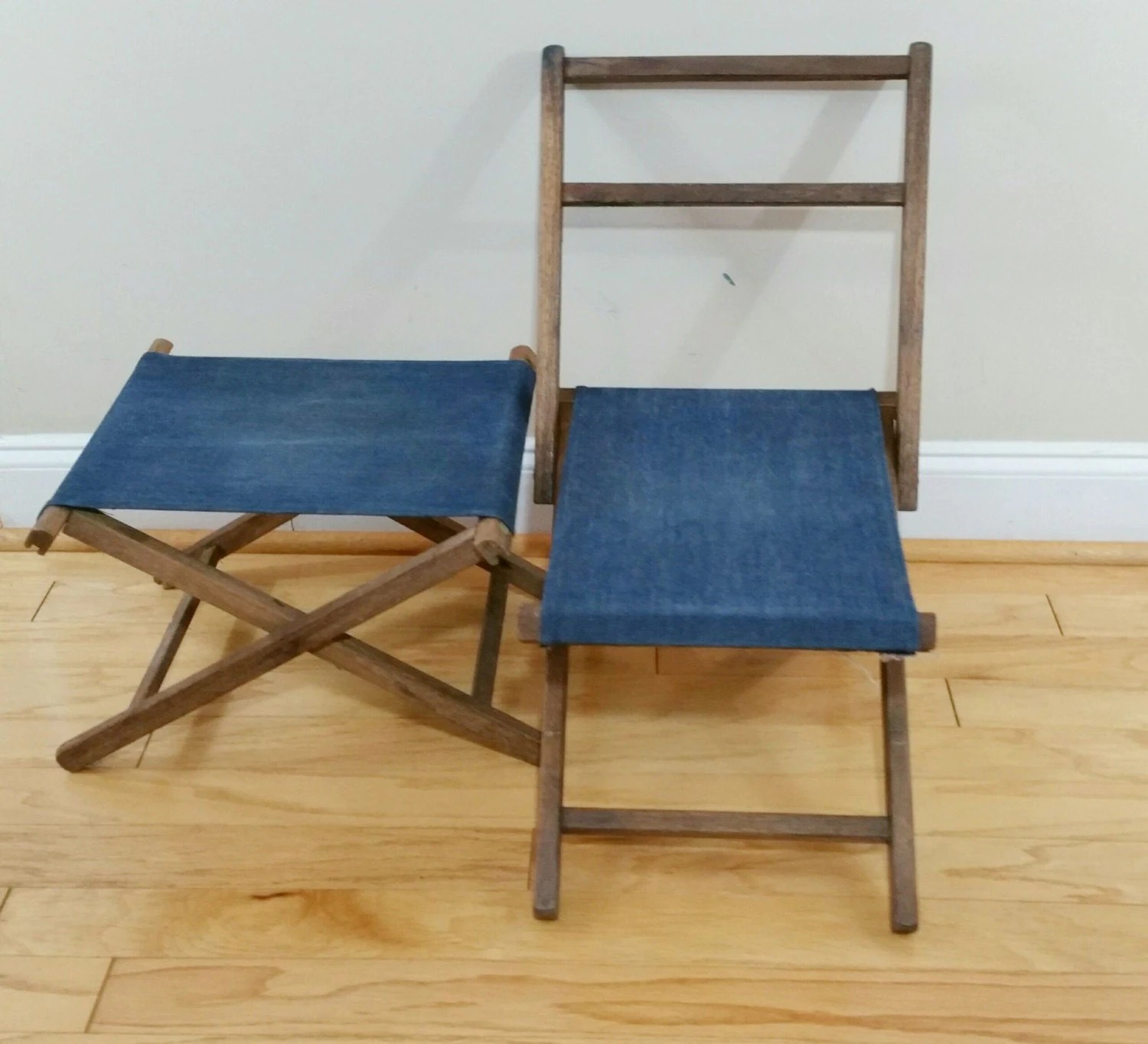 folding chair feet ghost chairs cheap vintage wood camp stool and foot rest with jean