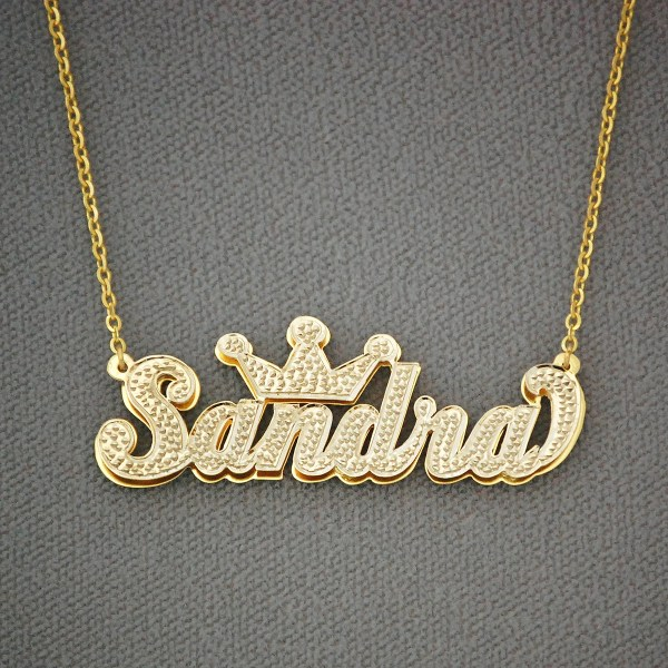 10k 14k Gold Personalized 3d Double Plate Pendant Necklace Jewelry Nd29