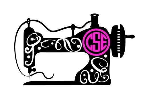 monogram sewing machine decal // sewing machine decal