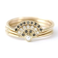 Pearl Wedding Ring Set Pearl Engagement Ring with Diamonds