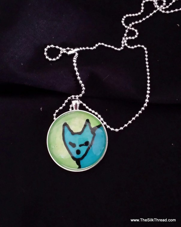 Cute, Blue cat Necklace, silk jewelry, Hand painted silk art by artist, round pendant, 38mm, blue and green, free organza gift bag,