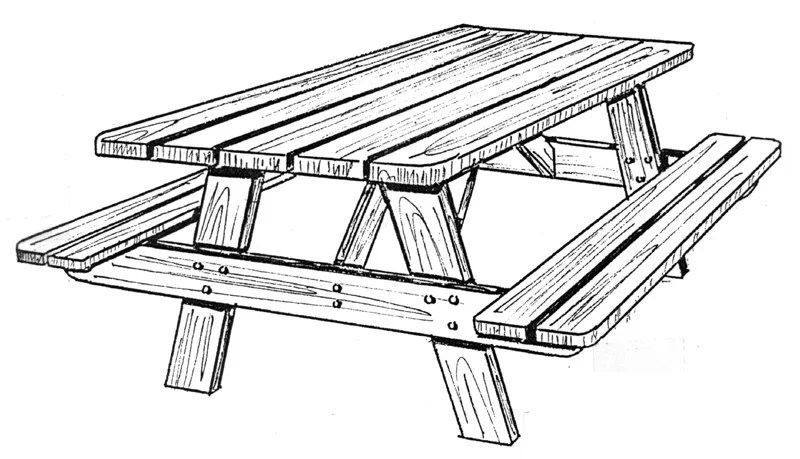 Picnic One table & benches 162 Woodworking / Craft