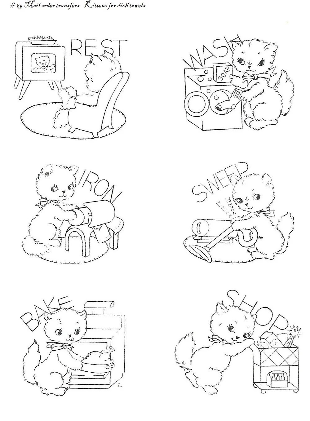 Vintage Hand Embroidery PATTERN PDF File Design 832 Baby Faces