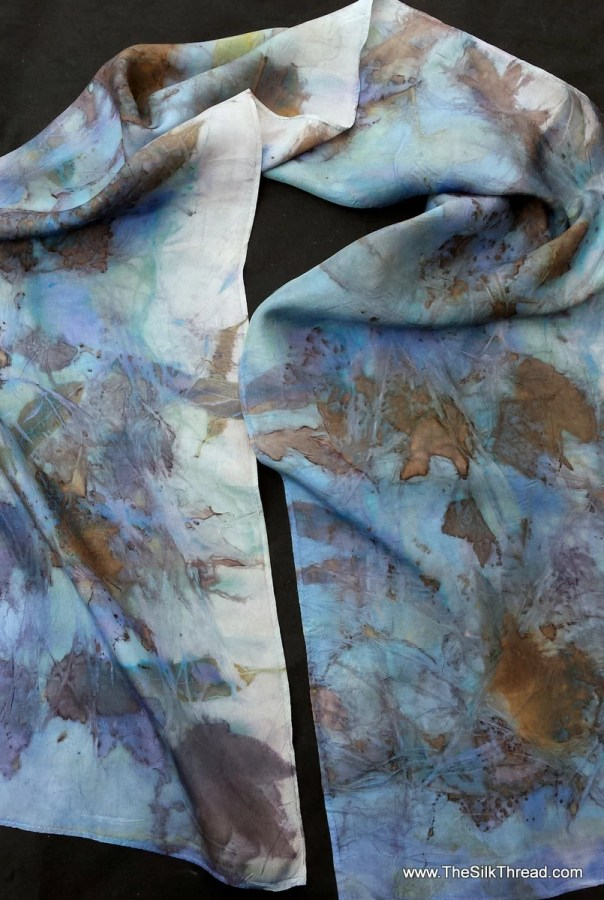 Blue Silk Scarf, ECO-printed with indigo and fall leaves in all natural colors, totally organic & renewable, sustainable art, 11 x 60