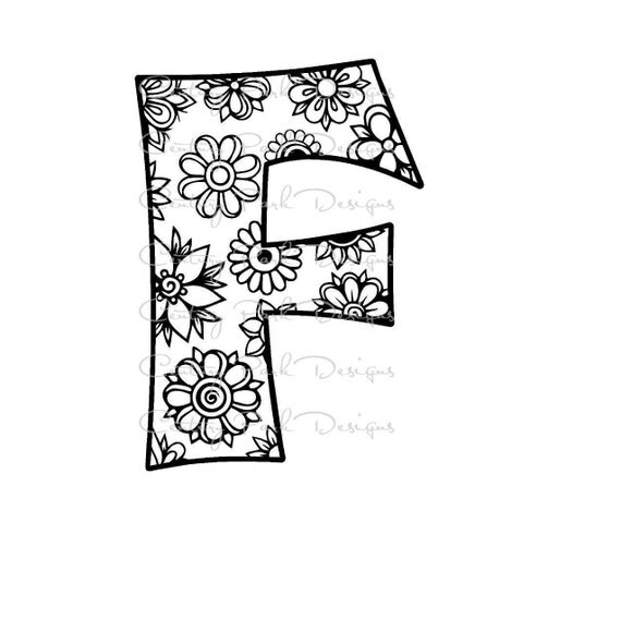 Letter F Alphabet Flowers SVG / JPEG / PNG /pdf / use with